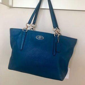 Coach peacock blue leather tote